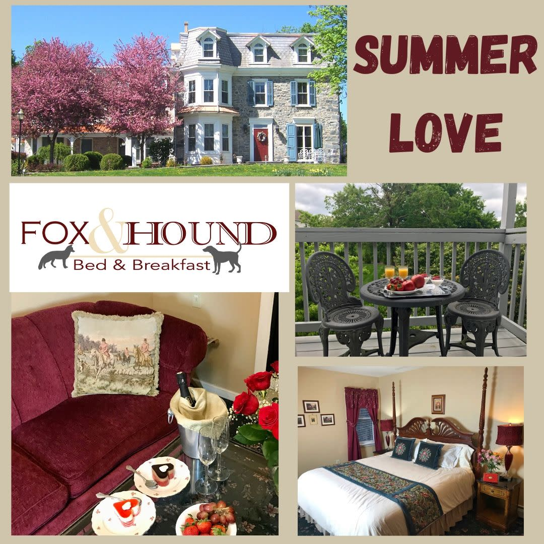 Summer love poster with cupcakes champagne and red couch, outdoor balcony with fruit and oj