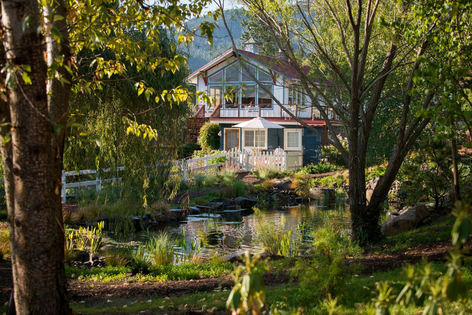 Breakfast building across pond