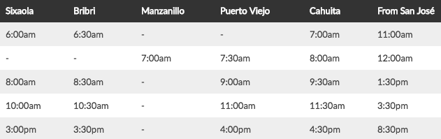 bus schedule from the Caribbean