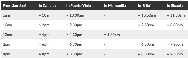 bus schedule to the Caribbean