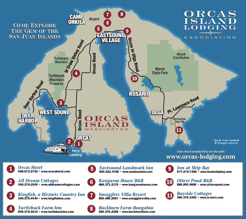 Orcas Island Map Island & Lodging Map | Orcas Island Lodging Association