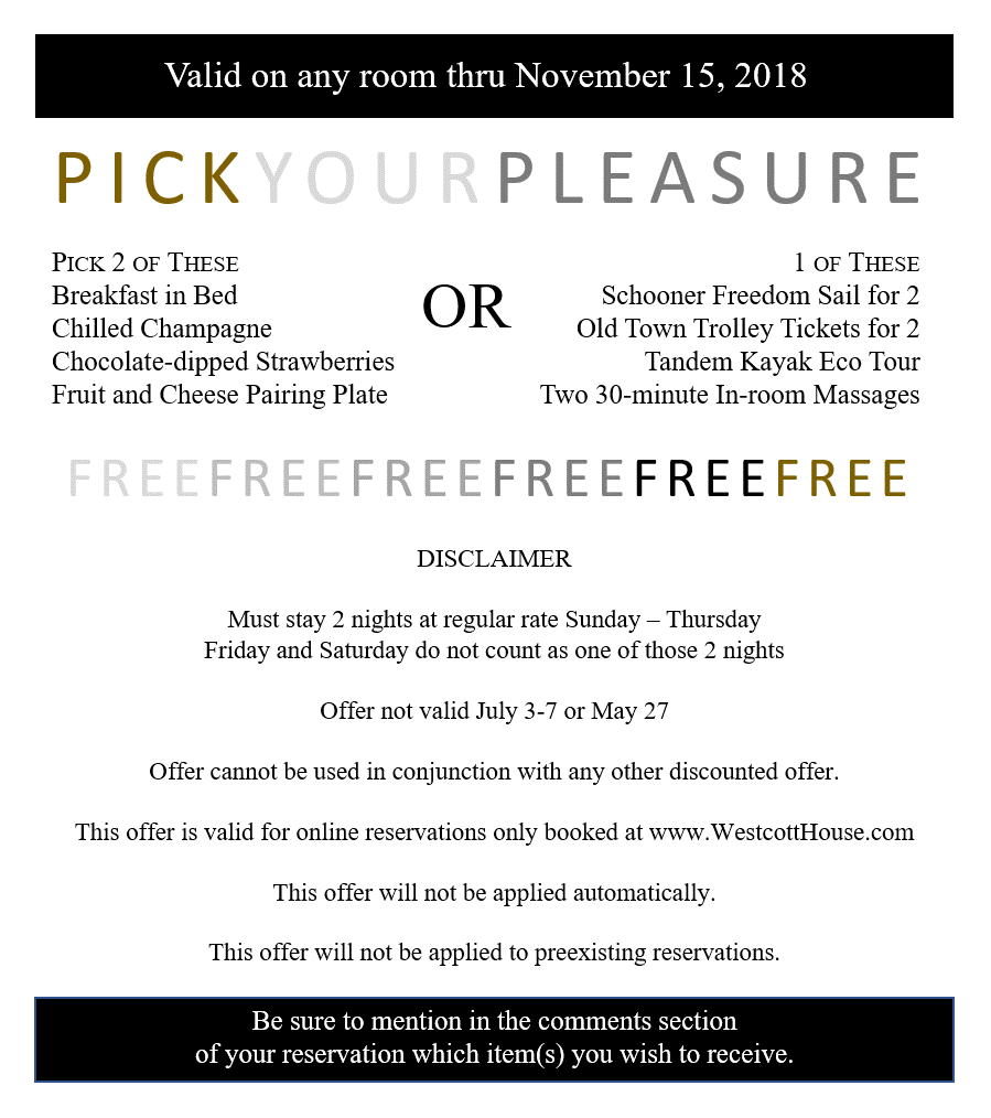 Pick Your Pleasure at NO CHARGE