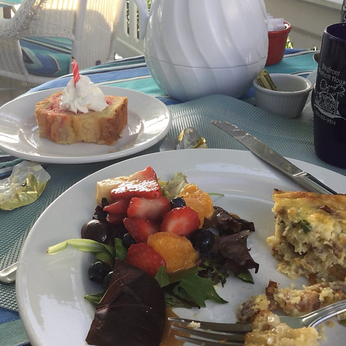 Breakfast served on our veranda
