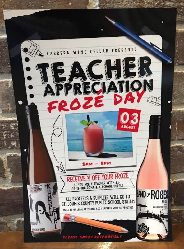 Carerra Wine Cellar Teacher Appreciation