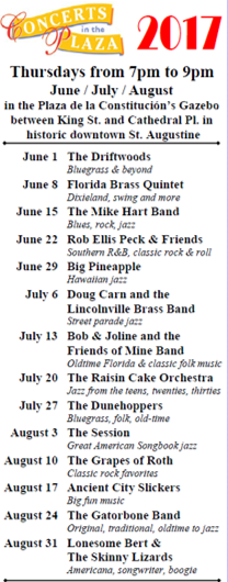 Free concerts in the St Augustine plaza