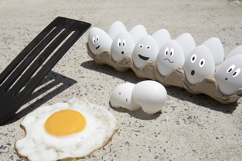 eggs in carton watching their egg friend frying on hot sidewalk