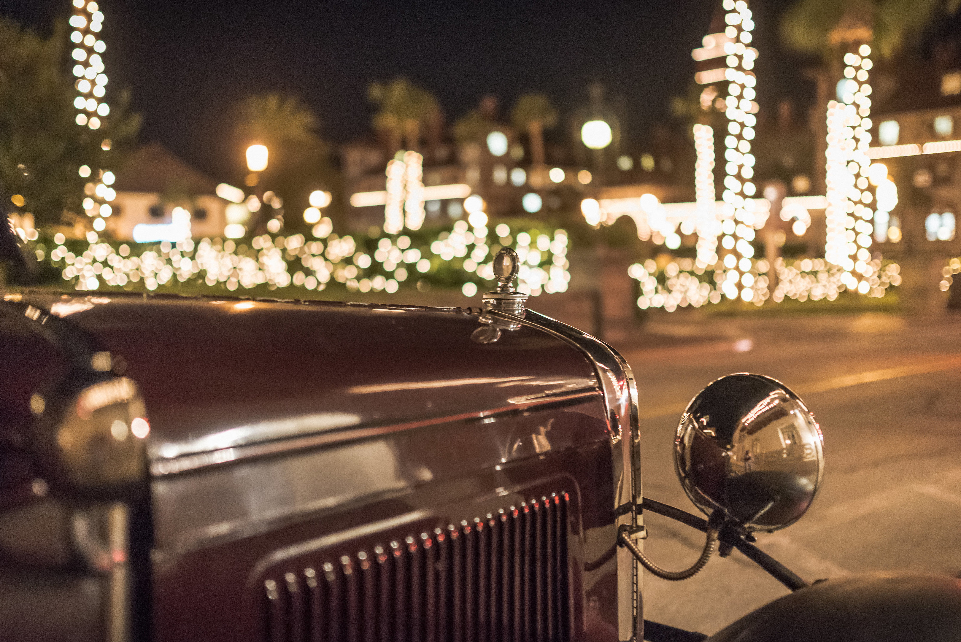Antique car in St Augustine during Nights of Lights