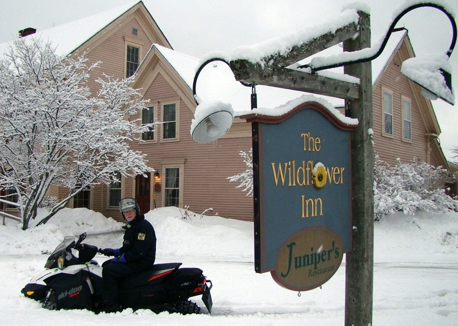 Snowmobiler checking-in at the Wildflower Inn
