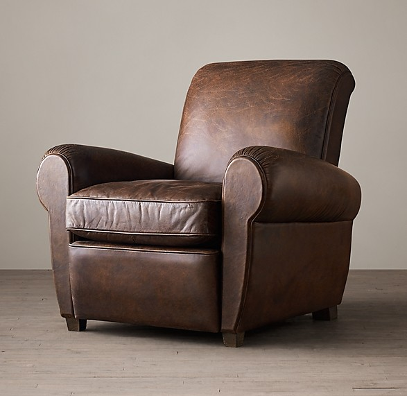 1920S PARISIAN LEATHER CLUB RECLINER