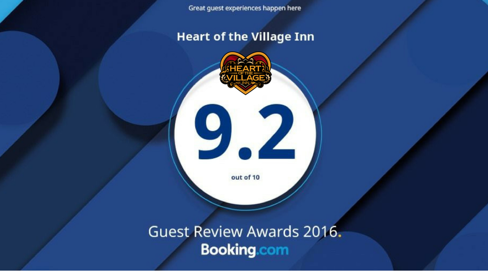 HEART OF THE VILLAGE INN EARNS 2016 BOOKING.COM GUEST REVIEW AWARD