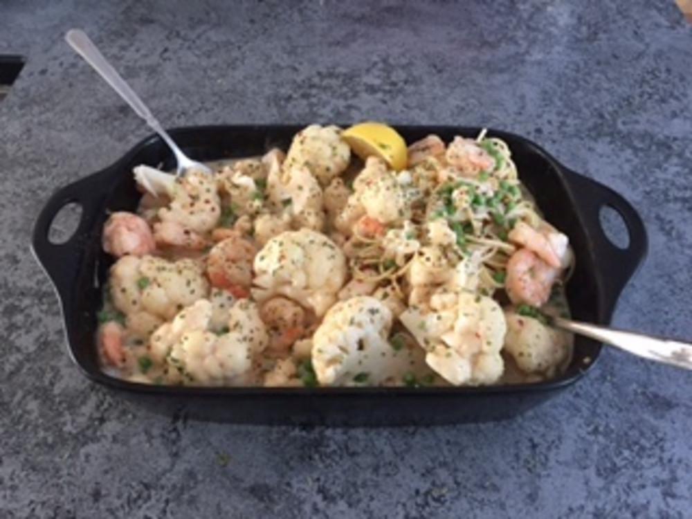 Easy, Decadent, Shrimp, Peas, and Cauliflower Casserole