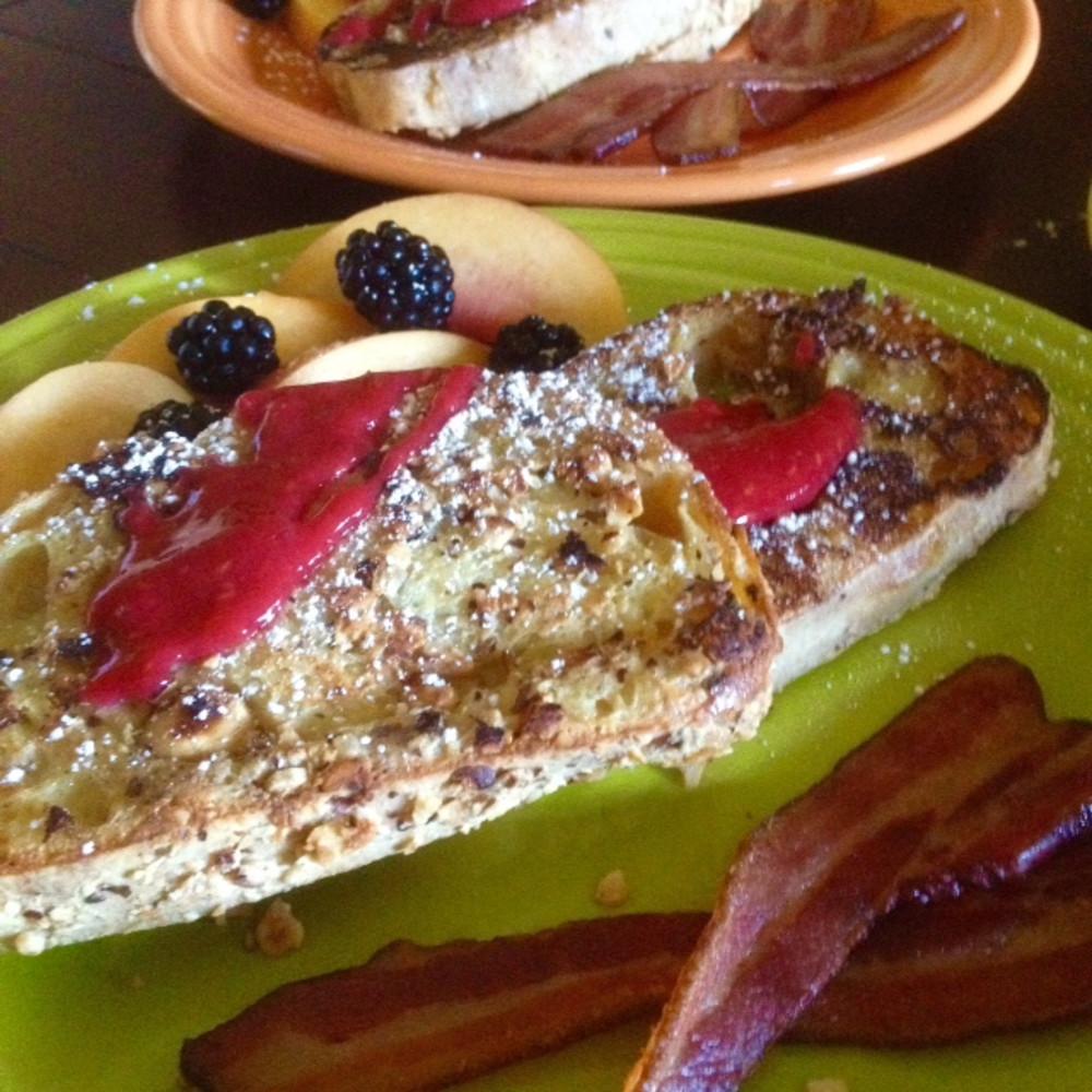 Hazelnut Crusted French Toast Fresh Raspberry Coulis