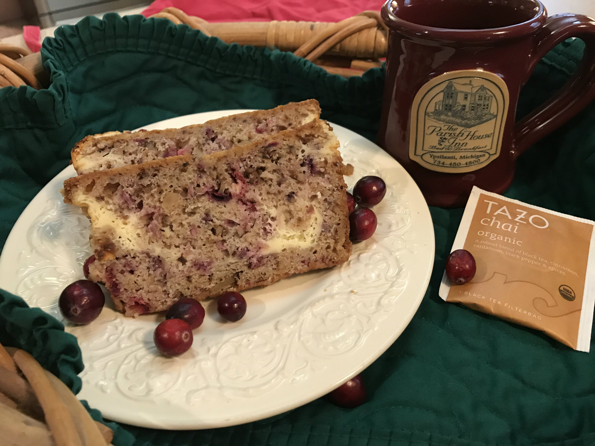 Recipe for Layered Cranberry Nut Bread from Ypsilanti's Parish House Inn