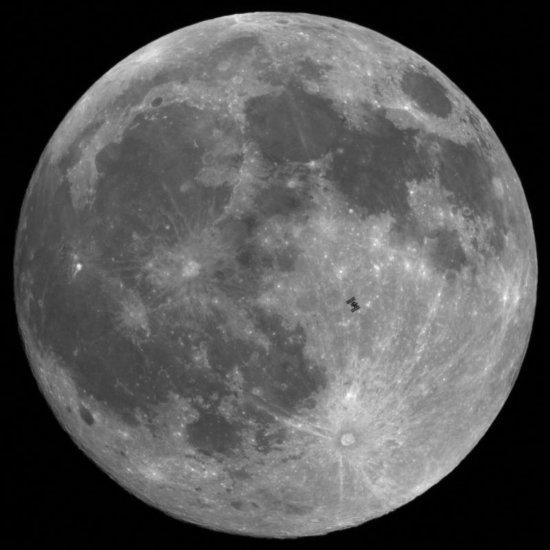 Lunar transit of the International Space Station