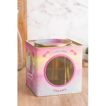 Envase para Galletas con Visor Unicornio -Multicolor