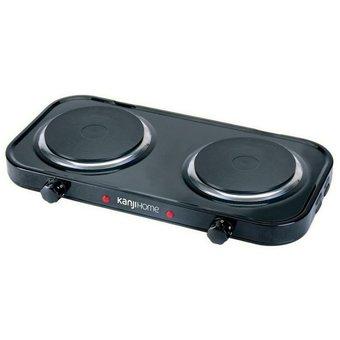 Anafe Electrico 2 Hornallas Kanji 2200 W Regulador Temp.- Negro
