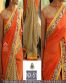 Orange Georgette Embroidered Partywear Bollywood Replica Saree