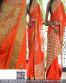 Orange Emrboidery Partywear Bollywood Replica Saree