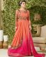 Peach And Pink Embroidered  Partywear Gown