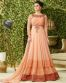 Peach Georgette Embroidered Partywear Gown