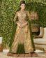 Beige Georgette Indo Western Lehenga Style  Suit