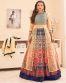 Gauhar Khan Beige Banglori Silk Printed Lehenga Style Suit