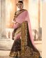 Stunning Pink and Brown Faux Georgette Saree-6604