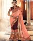 Peach Lace Work Saree For Georgette Material-6613