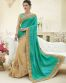 Beige And Sky Blue Silk & Georgette Party Wear Saree