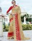 Beige And Red Smoked Georgette Saree