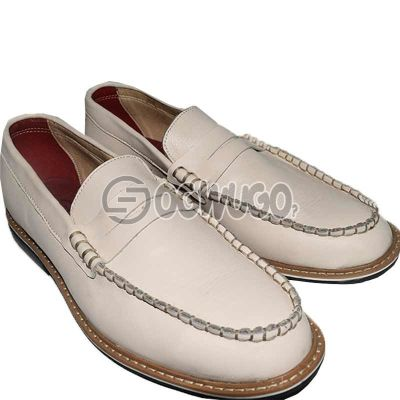Men's Leather White Loafers