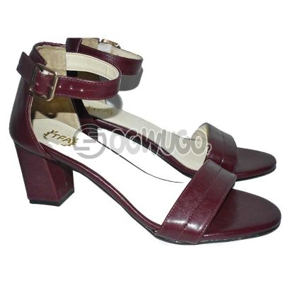 Womens Block-heel Leather Buckle-strap Oxblood Sandal.