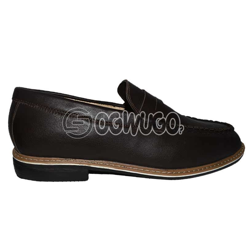 Mens Leather Dark-brown Loafers.
