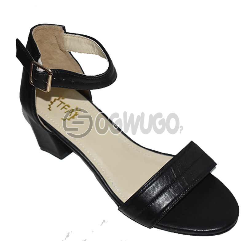 Womens Block-heel Leather Buckle-strap Black Sandal.