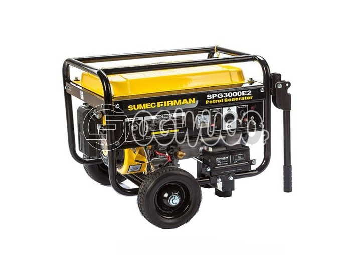 Sumec Firman SPG 3000E2 with battery and automatic key starter. 2.5KVA (2.5KW) generator offering key start, recoil start, built-in AVR, overload protection, oil alert system: unable to load image
