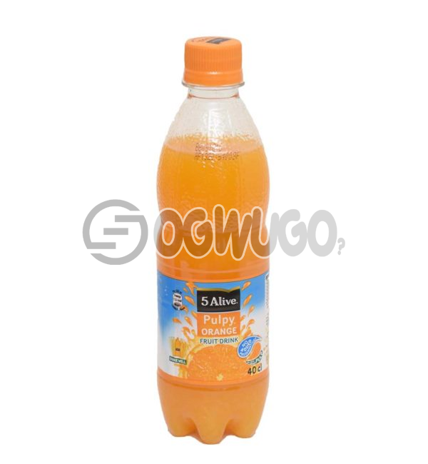 5alive Pulpy Orange Fruit Pet Drink with 40cl bottle size Coca Cola brand.