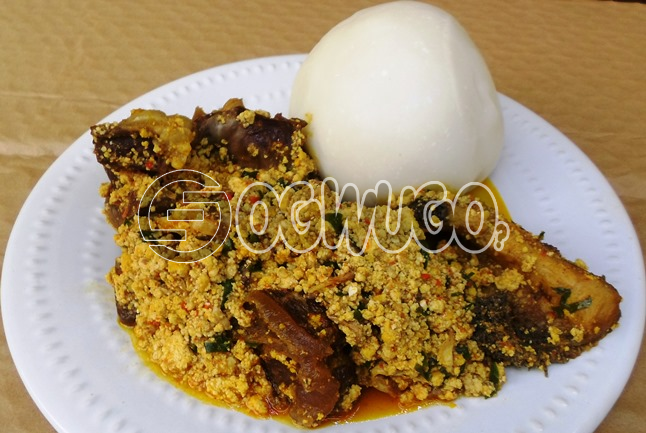 Two Hot swallow with Egusi Soup and one Big Delicious Piece of meat with one bottle of water. Please select swallow type and meat type when ordering: unable to load image