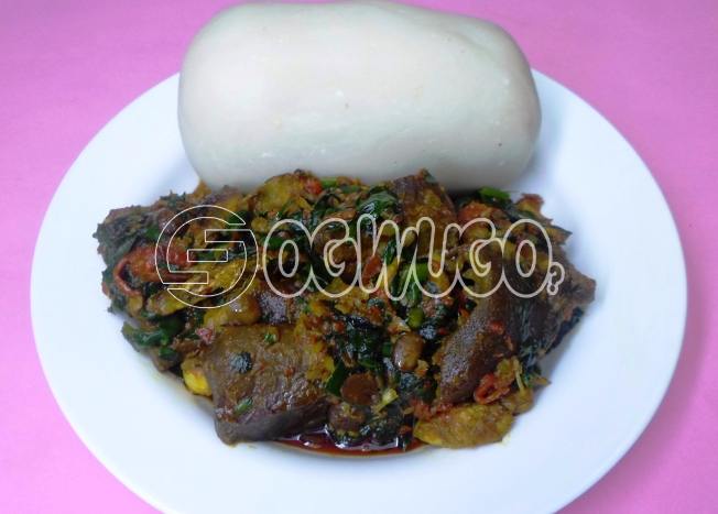 One Hot swallow with confirm Vegetable Soup and one Big Delicious Piece of meat with one bottle of water. Please select swallow type and meat type when ordering