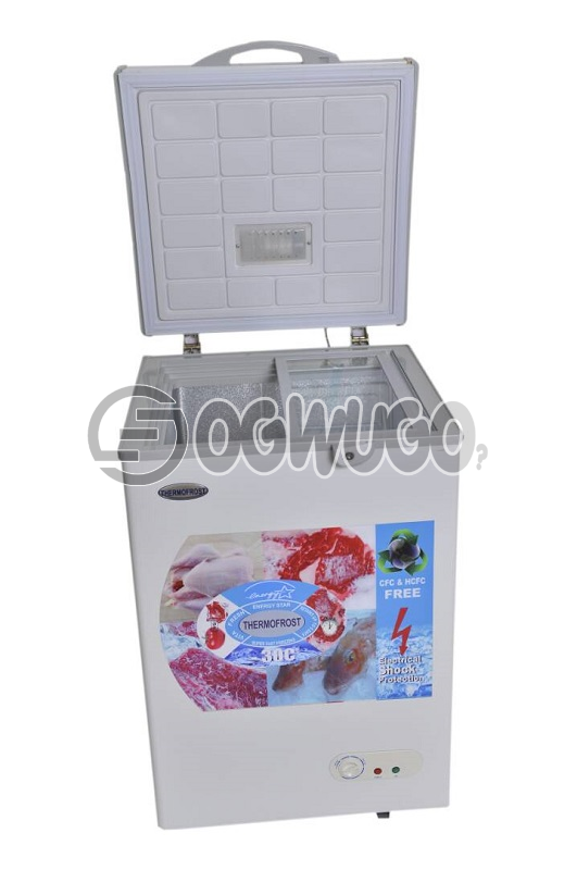 Thermofrost Freezer 170 liters New Innovation Super Fast Freezing..Low Energy Consumption Eurosonic Chest Deep Freezer,ant-rust Body,external Condenser, With High Efficiency Compressor, With Compressors Fan,