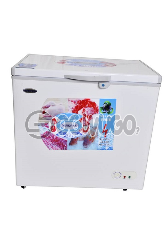 Thermofrost Freezer 270 liters New Innovation Super Fast Freezing..Low Energy Consumption Eurosonic Chest Deep Freezer,ant-rust Body,external Condenser, With High Efficiency Compressor, With Compressors Fan,