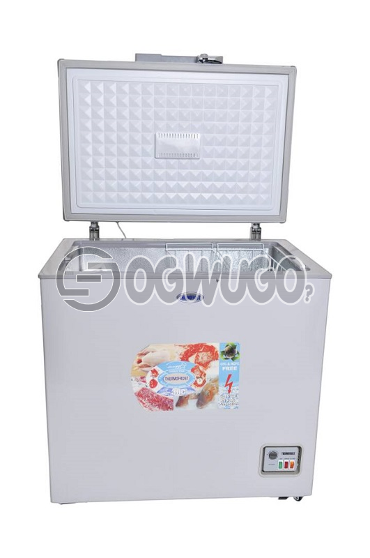 Thermofrost Freezer 200 liters New Innovation Super Fast Freezing..Low Energy Consumption Eurosonic Chest Deep Freezer,ant-rust Body,external Condenser, With High Efficiency Compressor, With Compressors Fan,: unable to load image