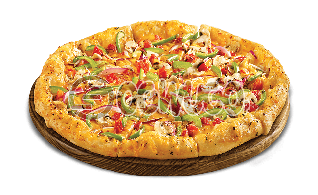 Vegetable Pizza (MEDIUM) Made with Tomato Sauce, Dried Green Pepper, Onion, Sweet Corn and Sliced Tomatoes.
