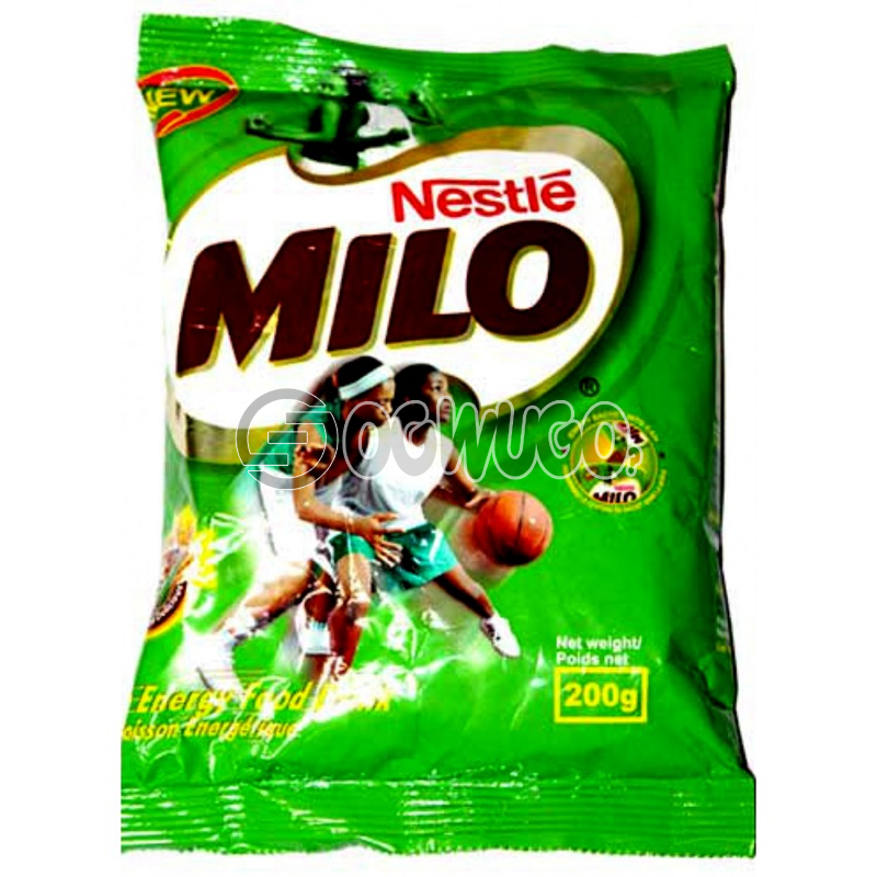 200 grams nourishing Nestle Milo chocolate, malt and sugar powdered sachet refill size.