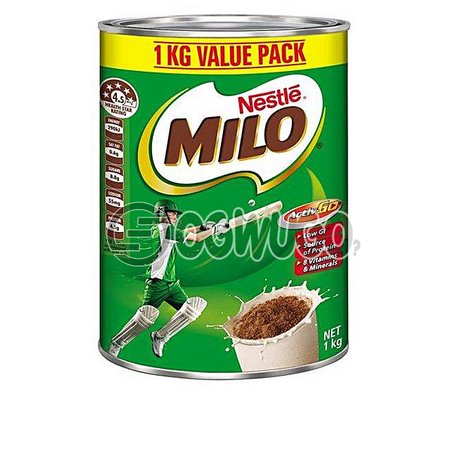 One kilogram (1kg) nourishing Nestle Milo chocolate, malt and sugar powdered tin size.: unable to load image