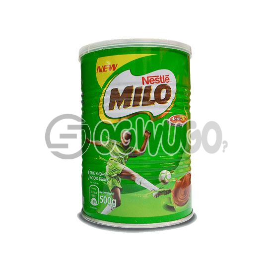 500 grams sweet nourishing Nestle Milo chocolate, malt and sugar powdered tin size.