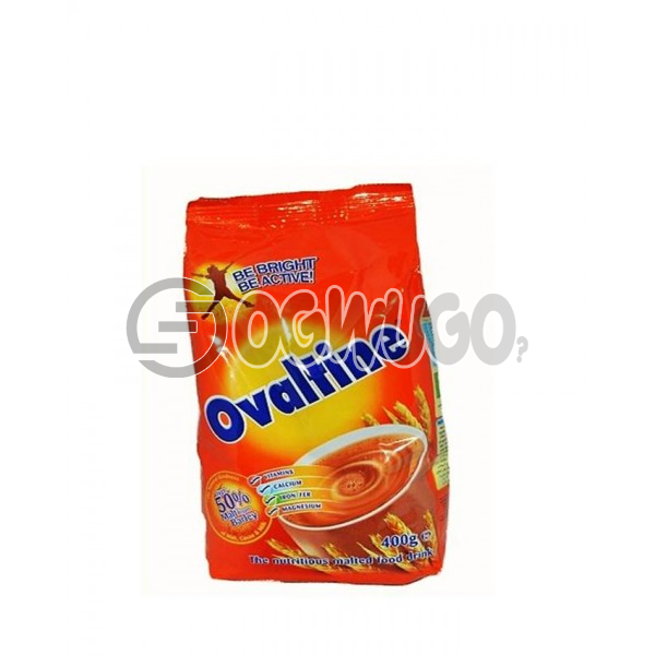 400 grams sweet, rich, chocolate, malt-extract and nourishing Ovaltine powdered sachet refill size.