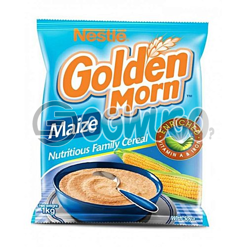 One kilogram (1kg) nutritious, delicious, whole grain Golden Morn cereal pack with essential nutients and vitamins.