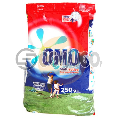 250 grams OMO powdered washing detergent sachet for fresher and clean white clothes.
