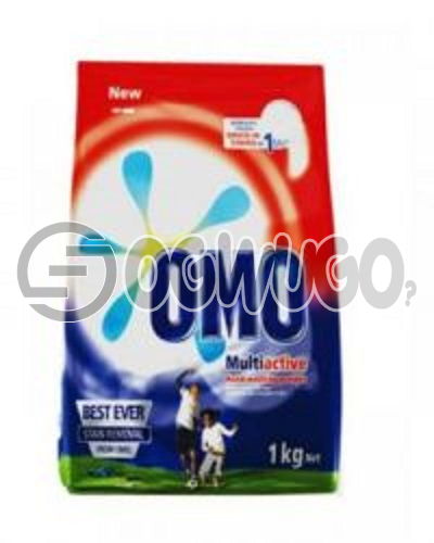 One kilogram (1kg) OMO powdered washing detergent sachet for fresher and clean white clothes. : unable to load image