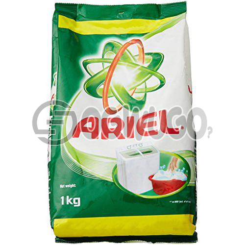One kilogram (1kg) Ariel powdered washing detergent sachet for fresher and clean white clothes.: unable to load image